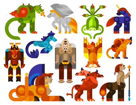 legendary: Mythical creatures icons set with legendary monster animals flat isolated vector illustration