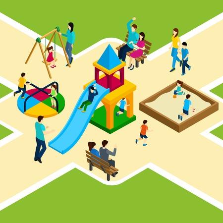 terreno: parco giochi per bambini isometrica con famiglie felici e bambini che giocano illustrazione vettoriale