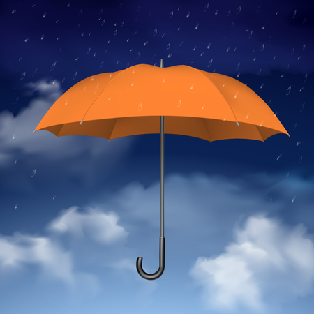 torrential rain: Colorful design concept of orange umbrella at blue sky background with clouds and raindrops vector illustration