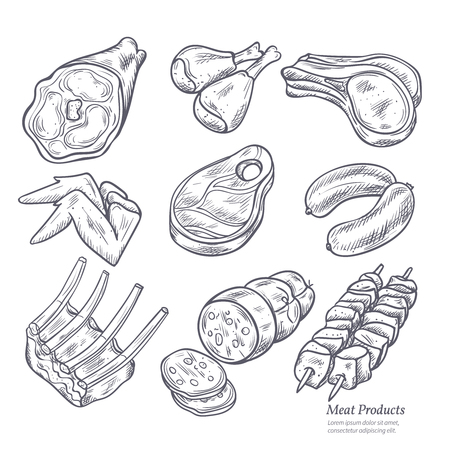 beef meat: Gastronomic meat products sketches set in retro style on white background vector isolated illustration