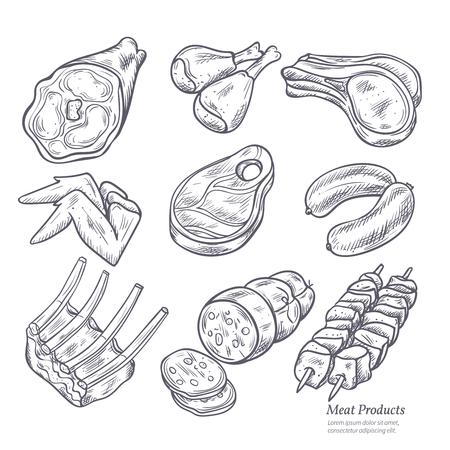prodotti a base di carne gastronomici serie di schizzi di in stile retrò su sfondo bianco vettore isolato illustrazione Vettoriali