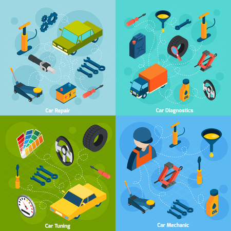 car tuning: Car mechanic diagnostics repair and tuning isometric icons set isolated vector illustration