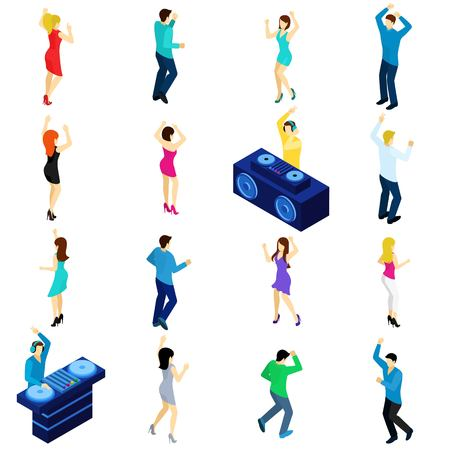 party design: Dancing people and disco dj isometric set isolated vector illustration