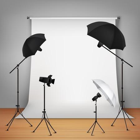 Foto studio design concept set met lampen en camera op statieven vector illustratie