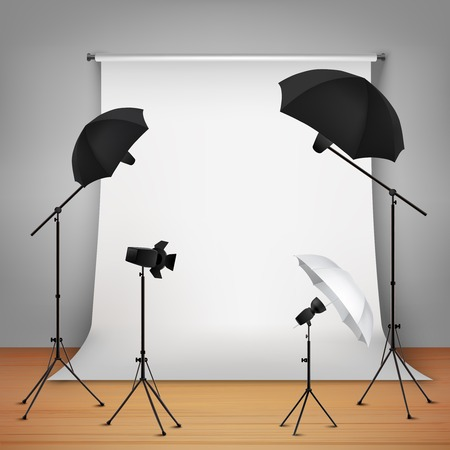 Photo studio design concept set with lamps and camera on tripods  vector illustration Çizim