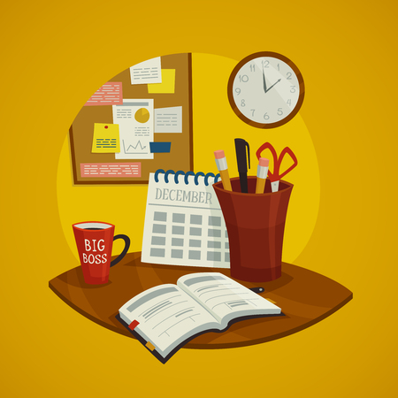 datebook: Workplace design concept set with datebook calendar  cup of coffee and wall clock vector illustration