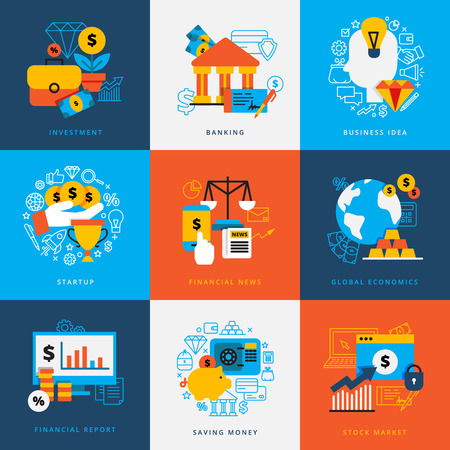 world market: Finance design concept set of decorative elements for banking investment startup saving money stock market flat vector illustration