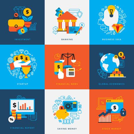 Finanza concept design insieme di elementi decorativi per l'avvio di investment banking risparmio illustrazione vettoriale piatto del mercato monetario magazzino Vettoriali