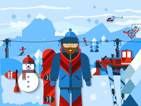 ski resort: Skiing concept flat color composition with skier in uniform at ski resort winter landscape with mountains helicopter and ski lifts vector illustration Illustration