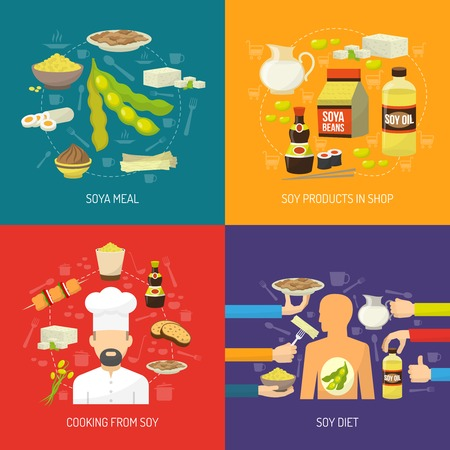 food plant: Soy food design concept set with soya products flat icons isolated vector illustration
