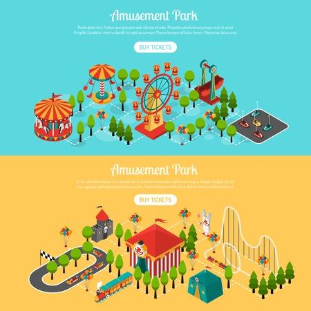 payaso: parque de atracciones 2 banners horizontales interactivas isom�tricas establecen con compra de billetes de bot�n de l�nea abstracta ilustraci�n vectorial