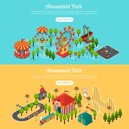 Amusement park 2 isometric interactive horizontal banners set with buy tickets online button abstract isolated vector illustration Illustration