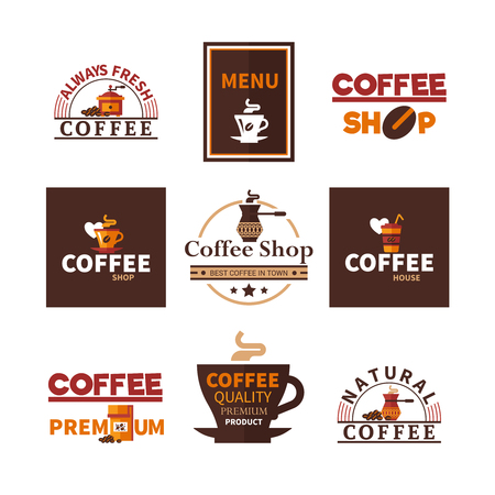 Coffee shop cafe and restaurants bar fresh natural premium espresso design emblems labels elements collection isolated vector illustration
