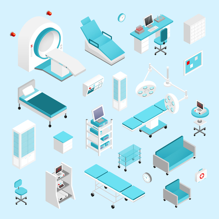 Hospital equipment and furniture isometric icons set isolated vector illustration