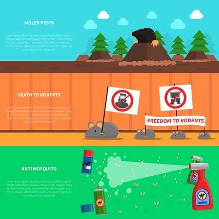 moles: Pest horizontal banner set with moles and mice flat elements isolated vector illustration Illustration