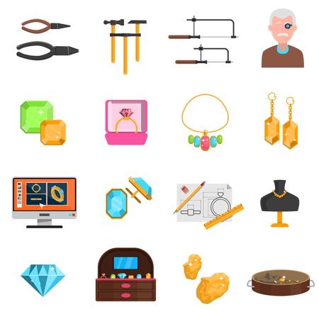 jeweller: Jeweller icons set with earrings and necklace flat isolated vector illustration Illustration