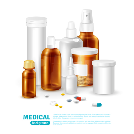 medical bottles: Medical realistic background with medical bottles and different types of pills vector illustration
