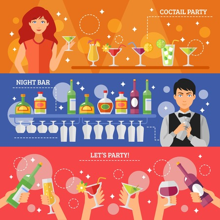 shaken: Cocktail party in night bar 3 flat horizontal colorful festive banners with alcohol drinks abstract isolated  vector illustration Illustration