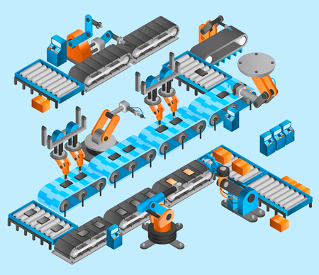 production line: Industrial robot concept with isometric conveyor line and robotic arm manipulators vector illustration