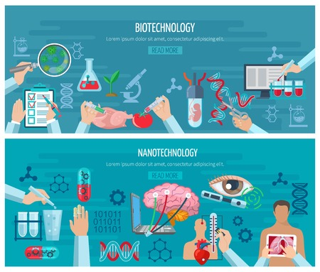 biotech: Horizontal banners with elements of biotechnology and nanotechnology design collection vector illustration