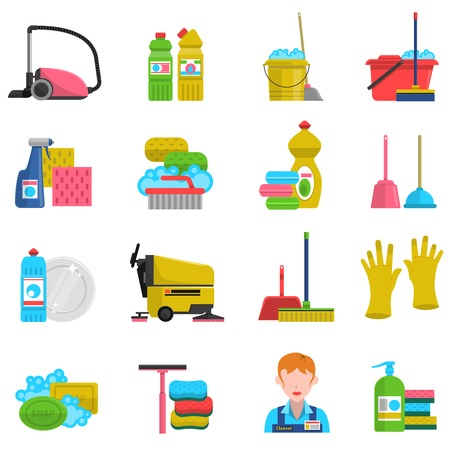 limpieza del hogar: Limpieza de iconos conjunto con jab�n fregona y guantes de ilustraci�n vectorial aislado plana