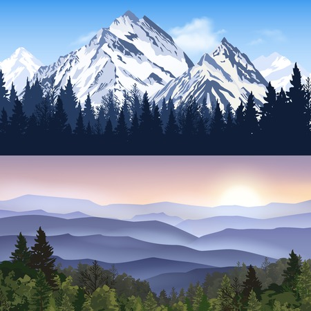 overlooking: Banners set of landscape with winter mountains and forest mountains with sunrise haze vector illustration Illustration