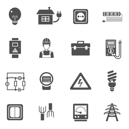high voltage sign: Electricity black white icons set with power and energy symbols flat isolated vector illustration
