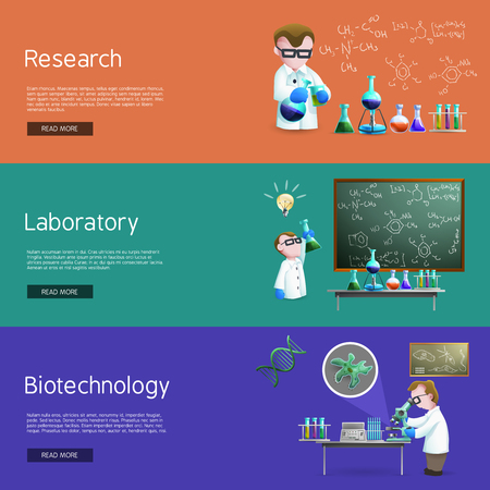 biochemistry: Science   horizontal banners  with assistants making biochemistry  research vector illustration