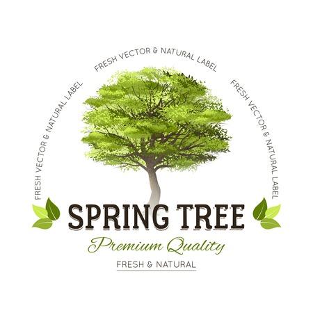 Het embleem van het typografieembleem met realistische groene de lenteboom en de tekst vectorillustratie van de premiekwaliteit