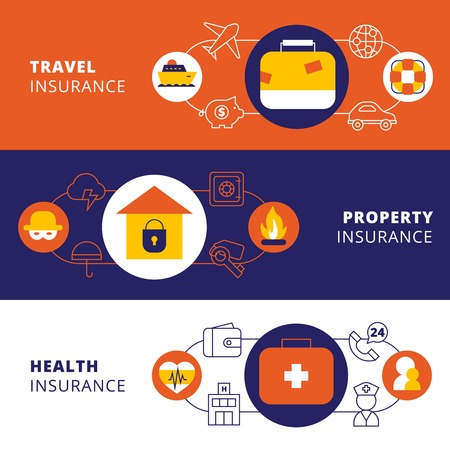 family policy: Property travel cars and health insurance companies policy 3 horizontal flat banners set abstract isolated vector illustration