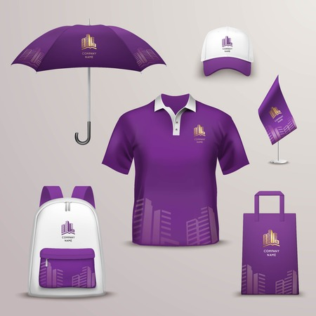 tshirts: Promotional souvenirs design icons for corporate identity with violet and white color shapes isolated vector illustration