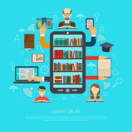 Online bibliotheek toegang kiezen lezen lay-out flowchart schema platte banner met elektronische boeken en apparaten vector illustratie Vector Illustratie