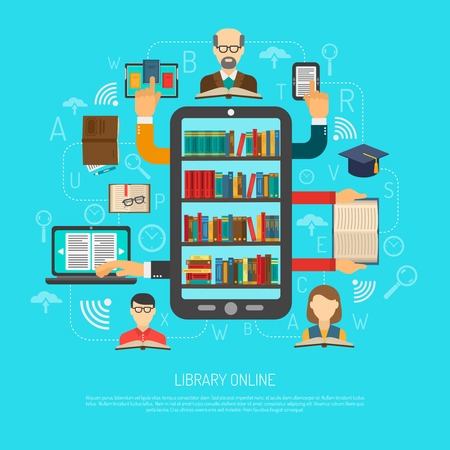 books library: Online library access choosing reading layout flowchart schema flat banner with electronic books and devices vector illustration