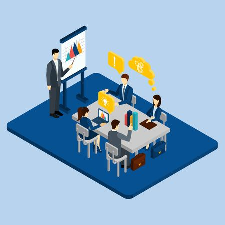 corporate people: Business meeting concept with isometric people in office vector illustration