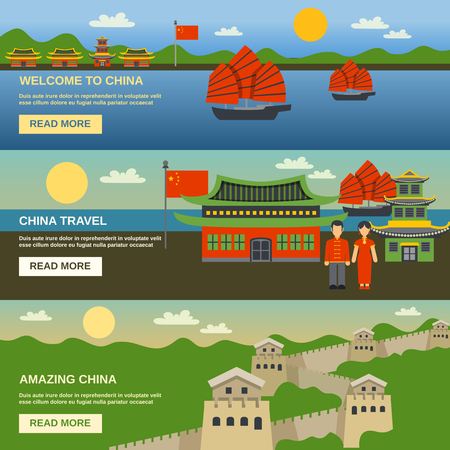 wall: Chinese culture traditions and famous landmarks information for tourists 3 flat horizontal interactive banners isolated vector illustration