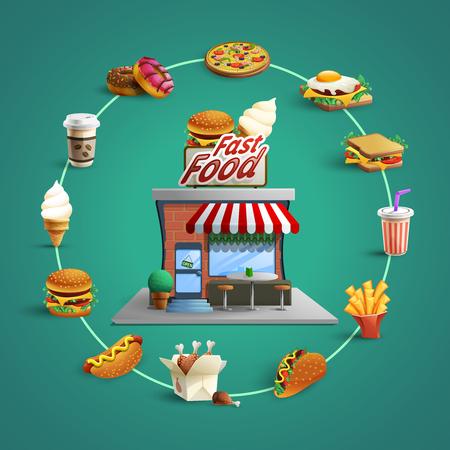 botanas: concepto de restaurante de comida rápida con el círculo pictogramas planas de hamburguesa francés-Fry y el fondo del perrito caliente cartel ilustración vectorial abstracto