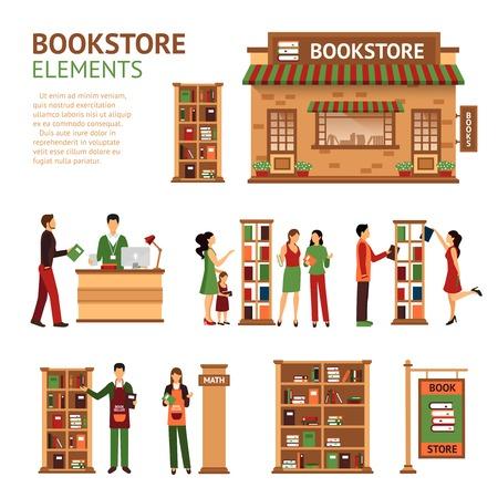 Beelden set van boekhandel elementen zoals store gebouw cashbox boekverkopers en klanten de keuze van boeken geïsoleerd vector illustratie