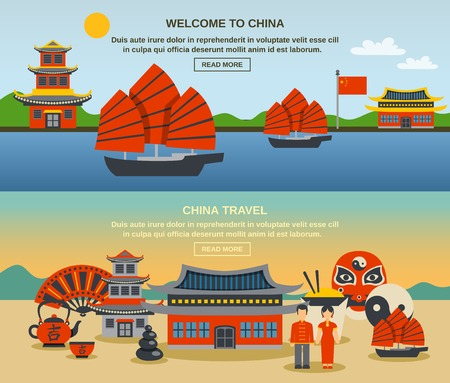 great wall of china: Welcome to china two flat banners set information with symbols traditions and landmarks abstract isolated vector illustration