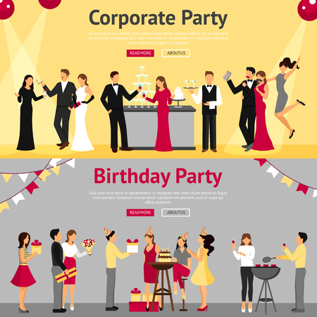 partying: Set of corporate and birthday party banners with celebrating communicating people flat isolated vector illustration
