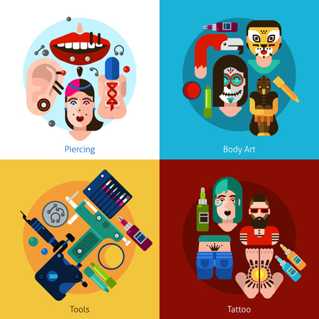 piercing: Set of 2x2 images with piercing body art tools and tattoo elements flat vector illustration