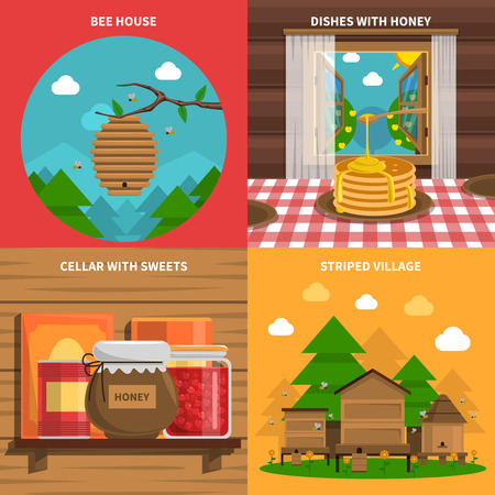 bee house: Honey concept icons set with bee house and cellar with sweets symbols flat isolated vector illustration