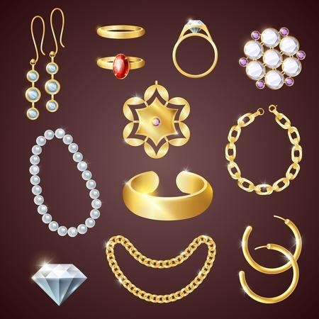 aretes: Conjunto de la joyería realista con pendientes pulsera y anillos de ilustración vectorial aislado Vectores