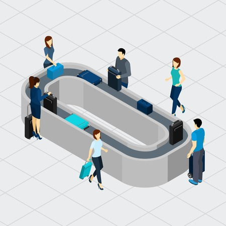 conveyor: People standing at airport conveyor line with luggage isometric vector illustration