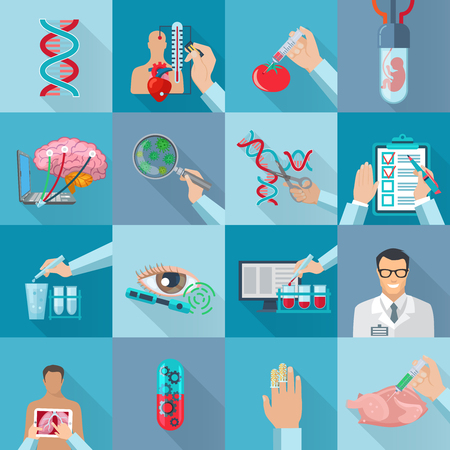 genetically modified: Flat color isolated biotechnology  icons set with dna molecule genetically modified products and human embryo in vitro vector illustration