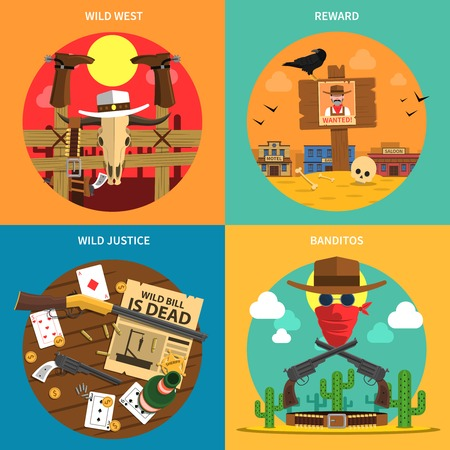western: Cowboy design concept set with wild west flat icons isolated vector illustration