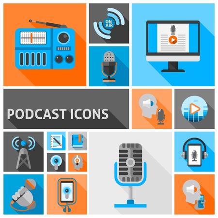 internet radio: Podcast icons flat set with internet radio and talk show symbols isolated vector illustration