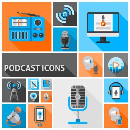 internet radio: Podcast icons flat set with internet radio and talk show symbols isolated vector illustration