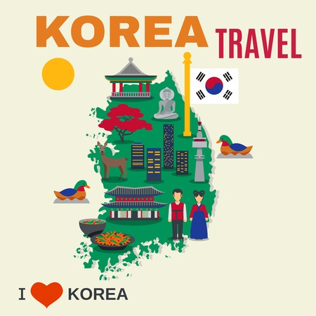 korea food: Worldwide travel poster for korea visitors with map and cultural national symbols and landmarks abstract flat vector illustration