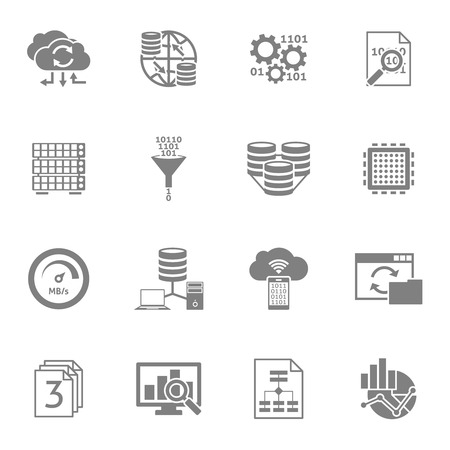 elements design: Information data analytics and processing black icons set with cloud storage service abstract isolated vector illustration