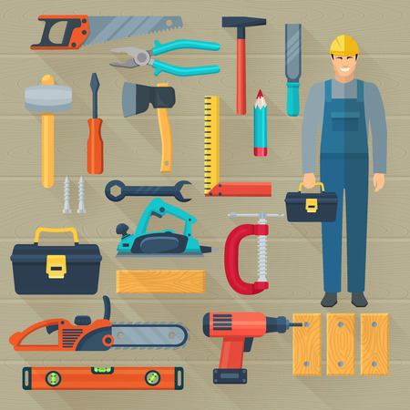 woodwork: Flat color shadow icons set with  carpentry tools kit for woodwork isolated vector illustration